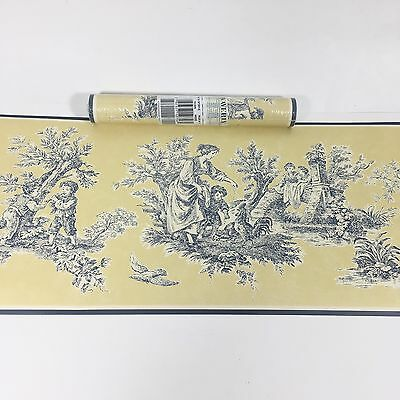 Waverly Wallpaper Border Blue Yellow Toile Provençal French Country Rooster Hen