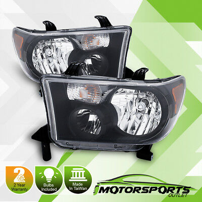 For 2007-2013 Toyota Tundra 2008-2017 Sequoia Factory Style BLK Headlights