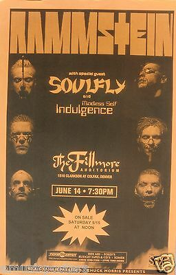 RAMMSTEIN & SOULFLY 1999 DENVER CONCERT TOUR POSTER - Metal Rock Music