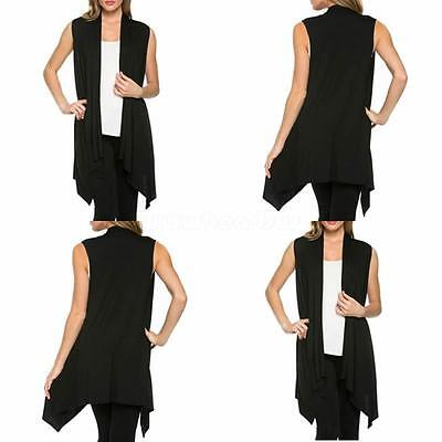 Fashion Women Ladies Sleeveless Long Waistcoat Chiffon Vest Coat Tops Cardigan