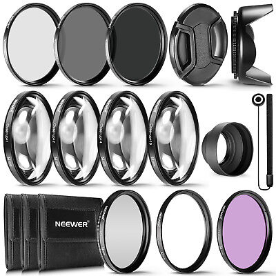 Neewer 52mm CPL UV ND2 ND4 ND8 Close-up +1 +2 +4 +10 Filter with Lens Hood Kit