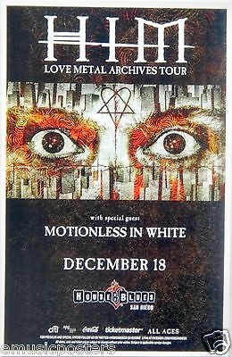 """Him /motionless In White """"love Metal Archives Tour""""2014 San Diego Concert Poster"""