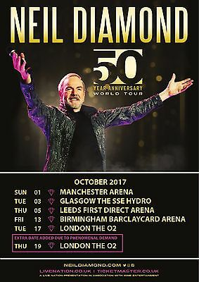 "Neil Diamond ""50 Anniversary World Tour"" U.k. October 2017 Concert Poster"