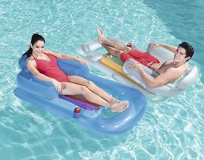 Bestway Inflatable Sun Lounger Swimming Pool Air-Bed Seat/Chair Lilo Back Rest