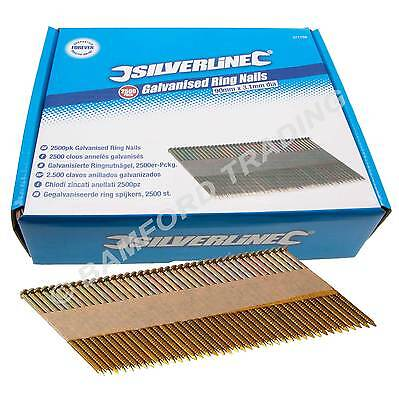 Silverline Galvanised Ring Nails 2500pk 90 x 3.1mm For Air Framing Nailer 282400