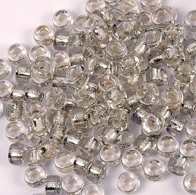Crystal Silver Foil lined 100pc Czech Glass 9x6mm Crow Pony Bead Free Shipping