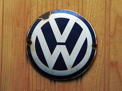 "Vw Porcelain Sign ~4-3/4"" Volkswagen Gas Golf Oil Gti Advertising Beetle Passat"