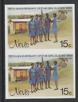 Nevis 3324 - 1985 GIRL GUIDES 15c IMPERF PAIR unmounted mint