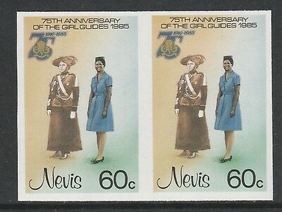 Nevis 3326 - 1985 GIRL GUIDES 60c IMPERF PAIR unmounted mint