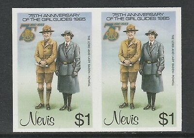 Nevis 3328 - 1985 GIRL GUIDES $1 IMPERF PAIR unmounted mint