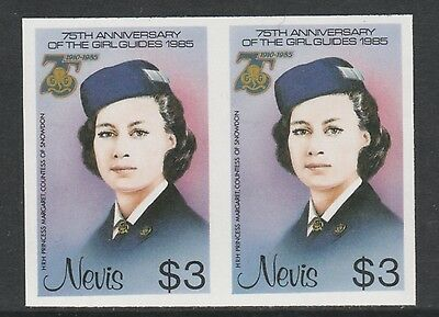 Nevis 3330 - 1985 GIRL GUIDES $3 IMPERF PAIR unmounted mint