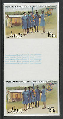 Nevis 3325 - 1985 GIRL GUIDES 15c IMPERF GUTTER PAIR unmounted mint