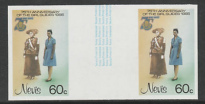 Nevis 3327 - 1985 GIRL GUIDES 60c IMPERF GUTTER PAIR unmounted mint
