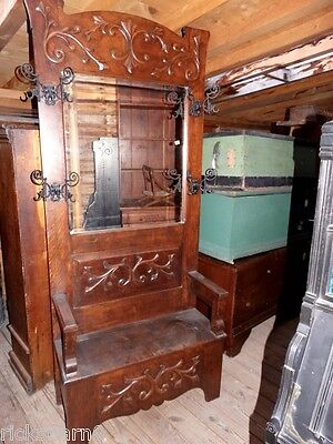 C.1900  Original   Solid  Oak  Hall   Tree  With  Bench