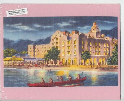 "Royal Hawaiian Hotel Waikiki Beach Hand Colored Photo Giclee 1928 On 8X10"" Matt"