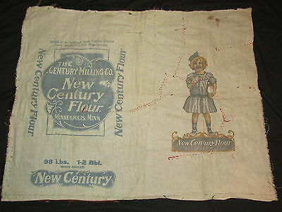 Antique ca 1917  New Century Flour Sack Child & Bread Loaf Sewn into Crazy Quilt