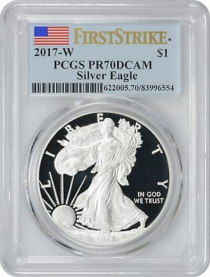 2017-W American Silver Eagle Dollar PR70DCAM PCGS Proof 70 Deep Cameo FS