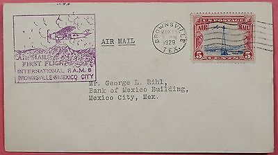 1929 Fam 8 First Flight Cover Brownsville Tx To Mexico Aamc F8-1B
