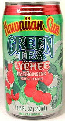 "FULL 11½oz Can ""Taste of Hawaii"" Hawaiian Sun Natural Green Tea Lychee w Ginseng"