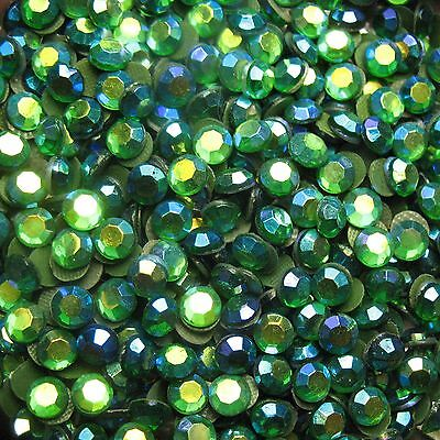 1,440 pieces Hotfix Iron-on 3mm Glass Rhinestones GREEN AB 10 gross 10SS