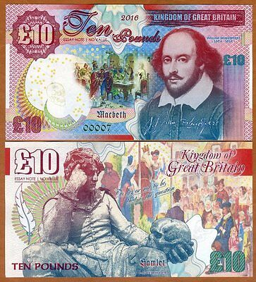 Great Britain, 10 pounds, 2016, Kamberra, UNC > Shakespeare, Hamlet, Macbeth