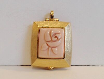 Mary Kay Solid Perfume Pendant Vintage No Chain 50% Full Pink Lucite Rose EUC