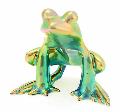 Zsolnay Gold - Green Iridescent Eosin Art Deco Frog Figurine