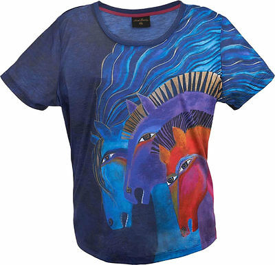 New LAUREL BURCH T-Shirt Tee Top BLUE MARES Horse Pony SIZE M Clothes Floral