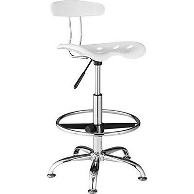 OneSpace 60-101601 Drafting Stool with Tractor Seat- White NEW