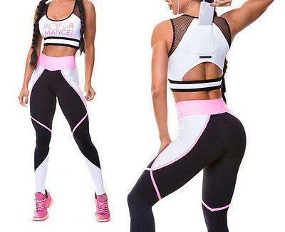 Women Yoga Bra Pants Sportwear Jumpsuit Set Gym Workout Running Fitness Leggings