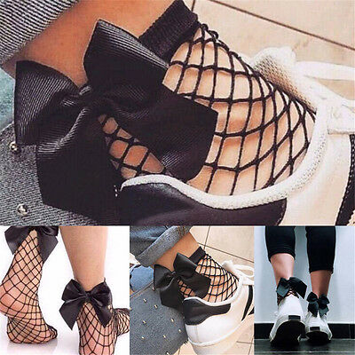 Women Vintage Ruffle Bow Fishnet Ankle High Socks Mesh Lace Fish Net Short Socks