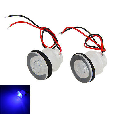 Pair Boat Marine RV Waterproof Courtesy Livewell 12v LED Blue LIGHT Submersible