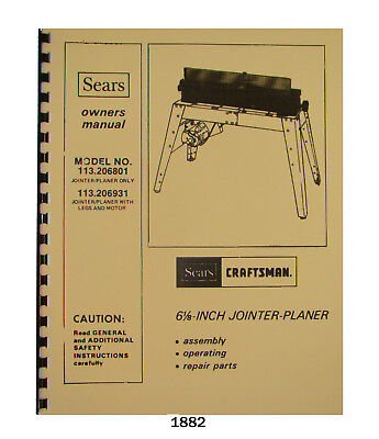 "Sears Craftsman 6"" Jointer 113.206801 & 113.206931 Op & Parts List Manual #1882"