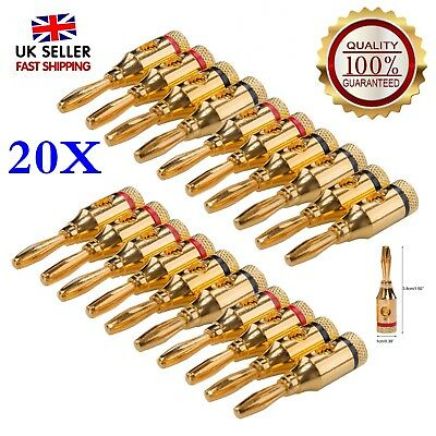 20Pc Gold Plated Musical Audio Speaker Cable Wire Connector 4mm Banana Plugs