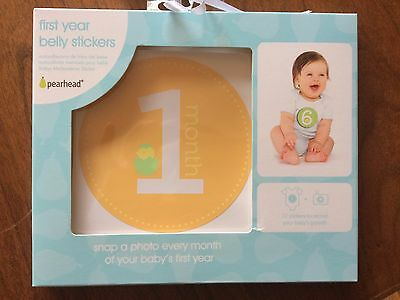 NIP Pearhead Baby's First Year Belly Stickers Unisex Boys Girls