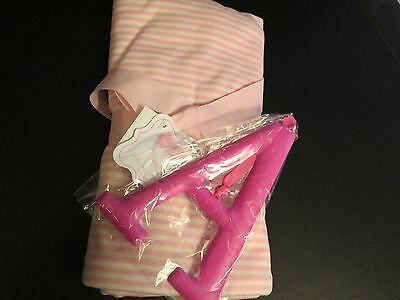"Mud Pie Initial ""A"" Pink Blanket and Decorative Initial Set, NWT"