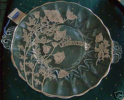 Vintage 25th Anniversary Crystal Cake Plate Janice Sterling Silver Overlay RARE