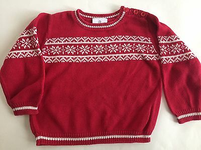 Hanna Andersson 100 4 Unisex Red Cotton Pullover Sweater White Nordic Fair Isle