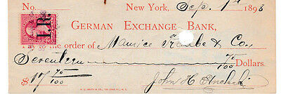 1898  New York  German Exchange Bank  W/revenue Stamp