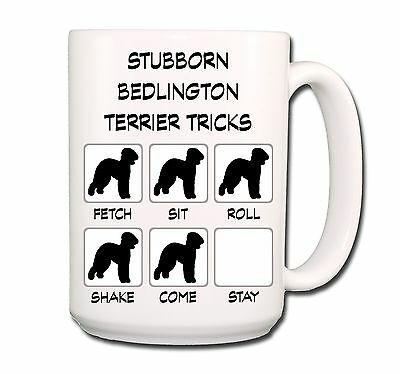 BEDLINGTON TERRIER Stubborn Tricks EXTRA LARGE 15oz COFFEE MUG