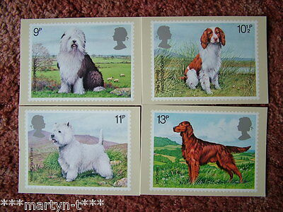 PHQ Stamp cards No 33 British Dogs 1979. 4 card set. Mint Condition