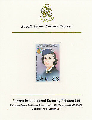Nevis 3347 - 1985 GIRL GUIDES $3 on FORMAT  INTERNATIONAL  PROOF  CARD