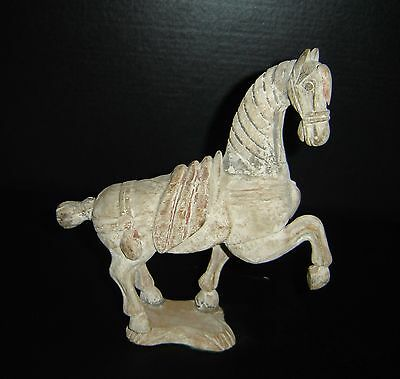 Antique Chinese Tang Carved Wood Prancing Horse and Stand Rare.