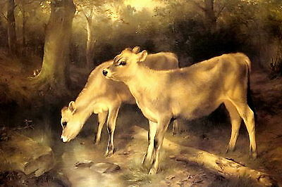 Farming Art Print Dairy Farm Landscape Cow Jersey Calf Cattle Babes in Woods