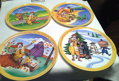 4 Vintage McDonald Plastic 4 Seasons Collector Plates 1977