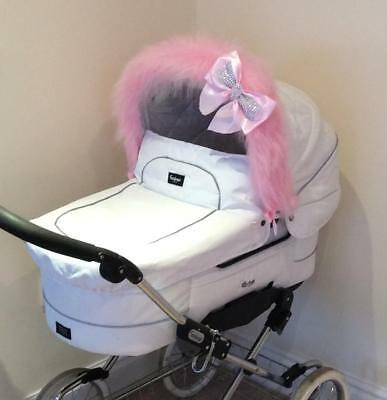 Buggy FUN FUR Hood Trim - My Babiie, Orb, Babystyle, Icandy. Pink, White, Cream