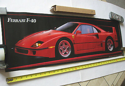 "FERRARI F-40 Vintage Poster 36"" x 11.5"" New Old Stock 1990 MINT in Original Box!"