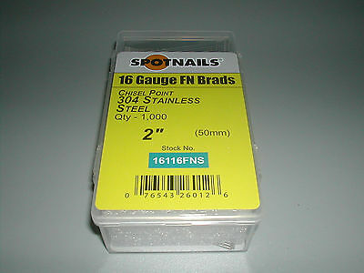 """STAINLESS 2"""" Finish Nails 20 Degree 16 Gauge for Paslode Dewalt Nailers (1,000)"""