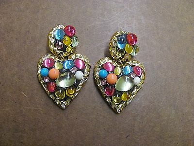 +A48 Old Pawn Vintage Heart Shaped Clip On Earrings