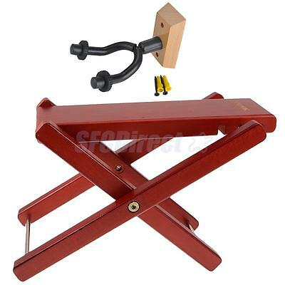 Guitar Foot Stool Adjustable Rest Stand Mahogany +Guitar Wall Hangers Mount